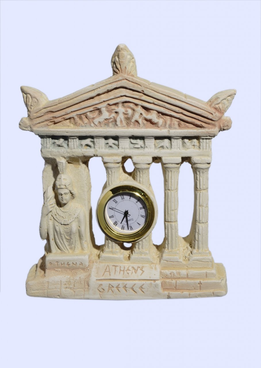 Plaster table clock with Parthenon facade of the Acropolis in Athens and goddess Athena