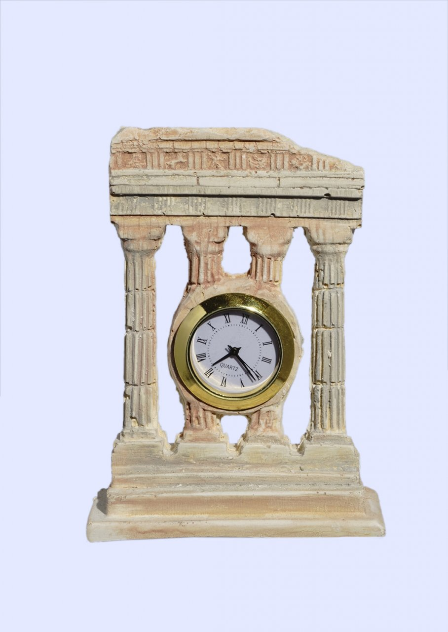 Plaster table clock with 4 doric columns