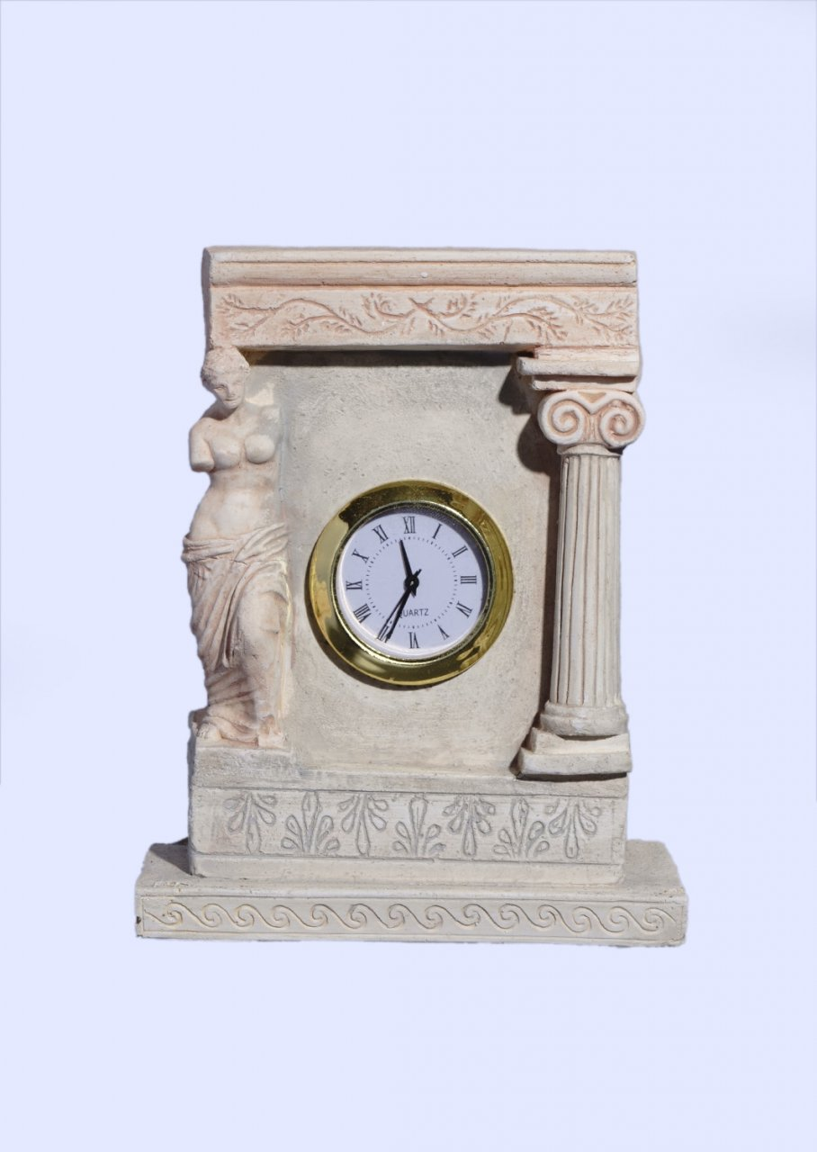 Plaster table clock with Aphrodite the ancient greek goddess of love and beauty
