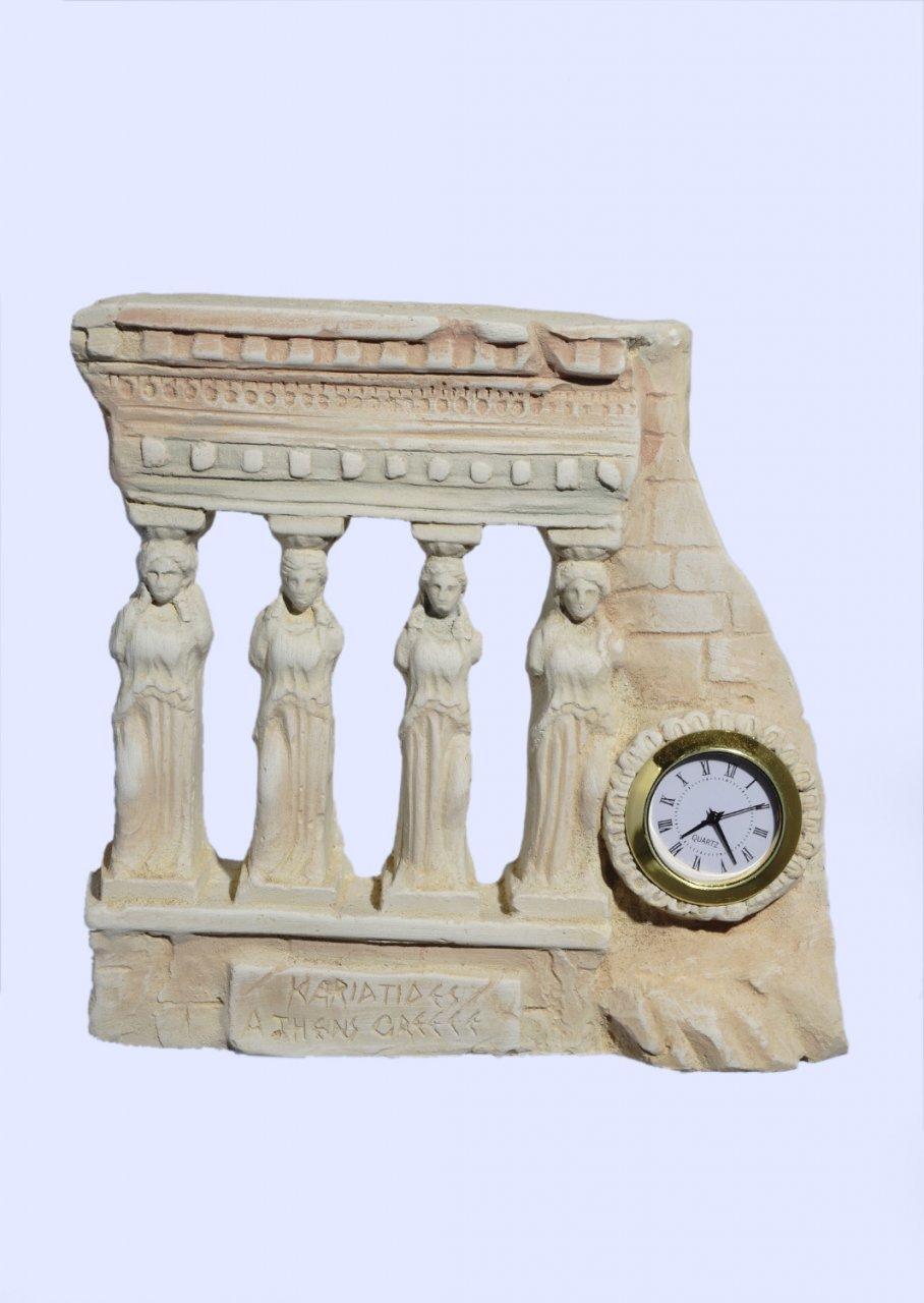 Medium plaster table clock with Caryatids (Karyatides)