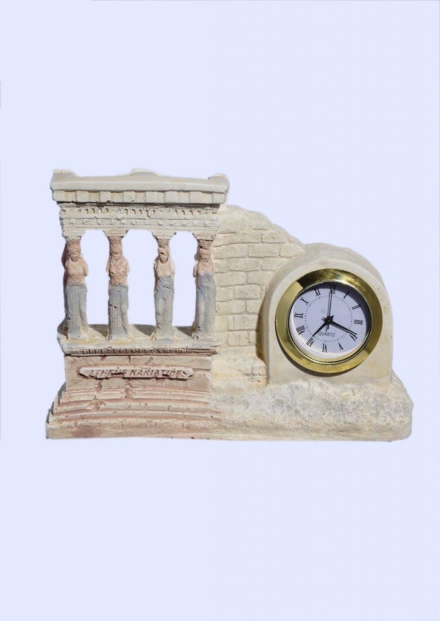 Small plaster table clock with Caryatids (Karyatides)