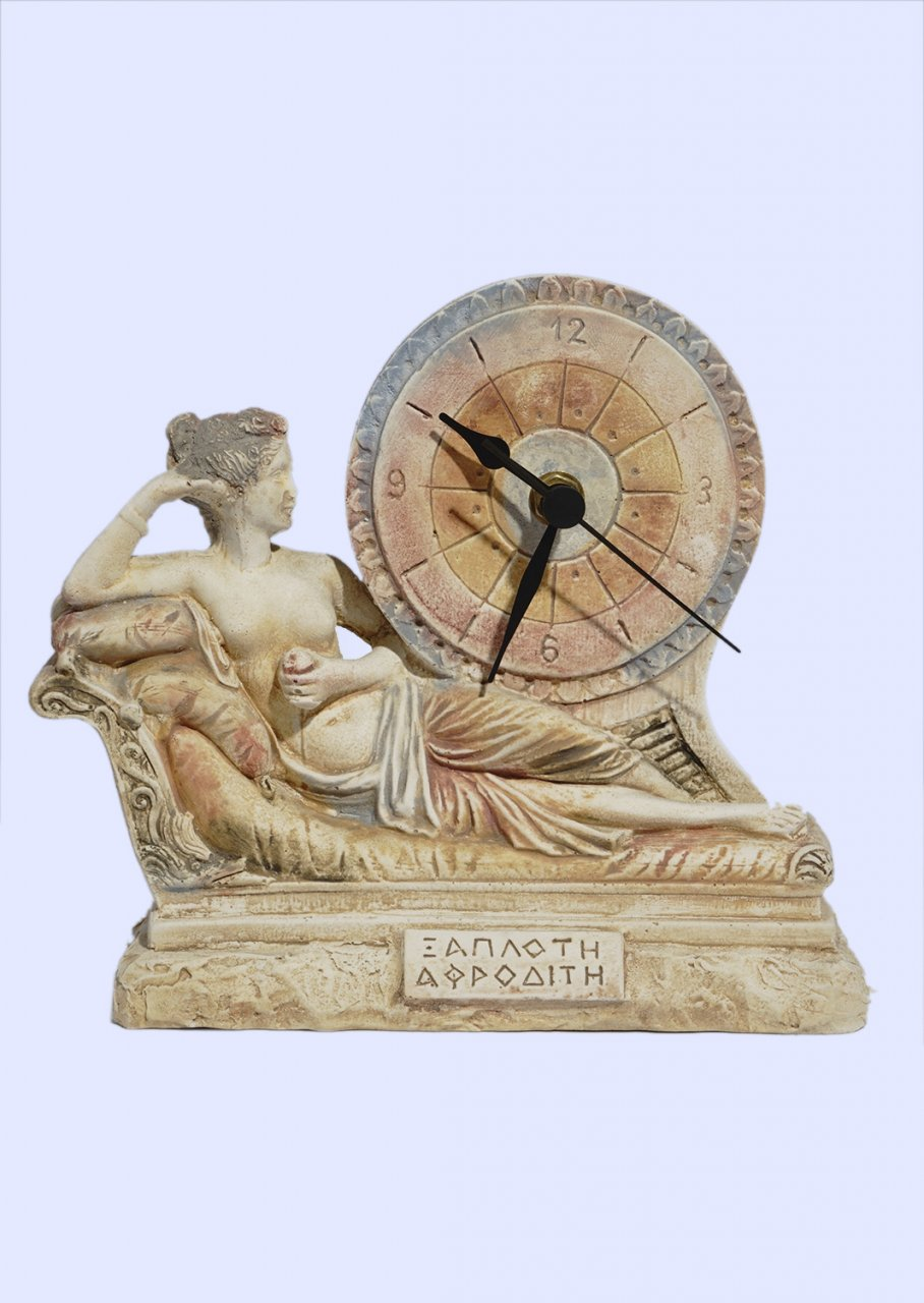 Plaster table clock with laying Aphrodite the goddess of love and beauty