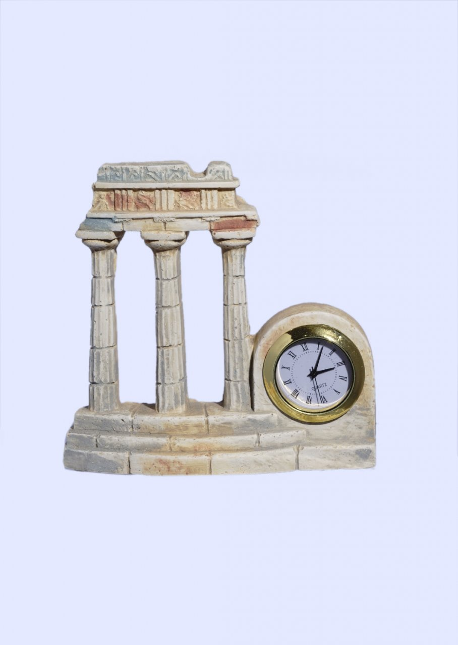 Plaster table clock with Tholos of Delphi