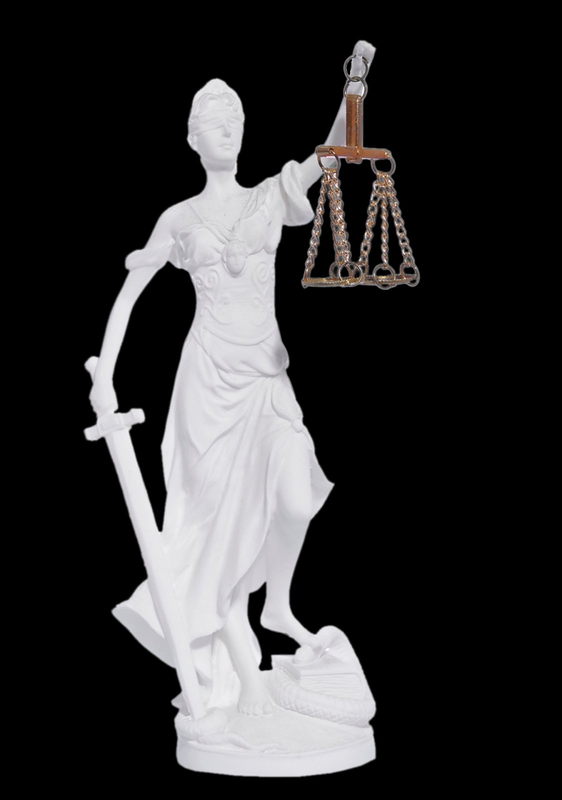 Themis the greek goddess of justice, holding the Scales of Justice and a sword