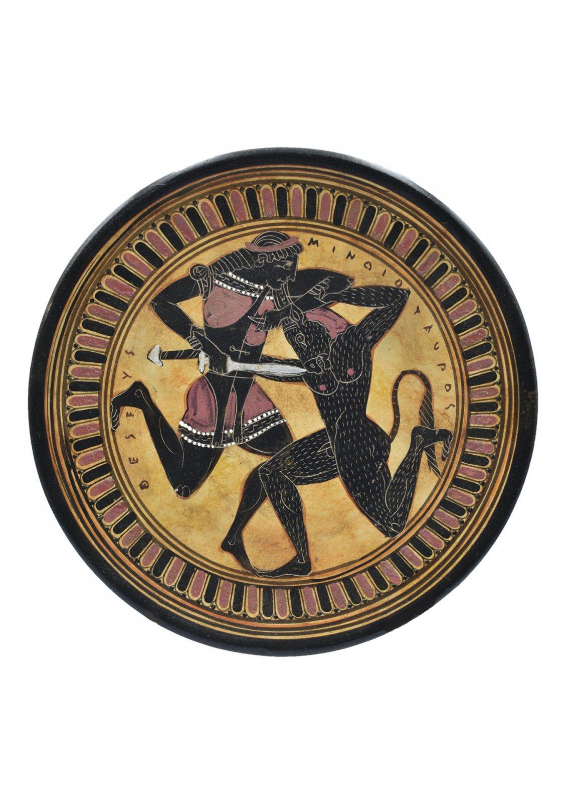 Greek ceramic plate replica depicting Theseus and Minotaur