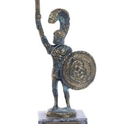 Achilles of Trojan war greek bronze statue on a marble base 1