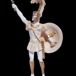 Achilles with his sword and shield, greek alabaster statue 1