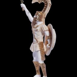 Achilles with his sword and shield, greek alabaster statue 3