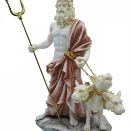 Hades, Pluto, God of the dead and the king of the underworld, greek alabaster statue with color 2