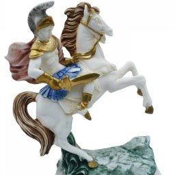 Alexander The Great riding Bucephalus, alabaster statue with color 1