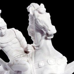 Alexander The Great riding Bucephalus, alabaster statue 4