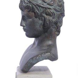 Antinoos (Antinous) greek plaster green bust statue 2