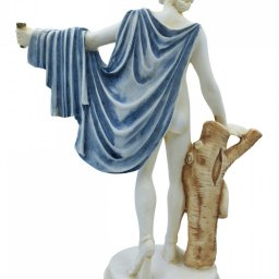 Apollo greek alabaster statue with color and patina 2