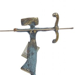 Small bronze statue of Goddess Artemis holding her bow and arrow 1