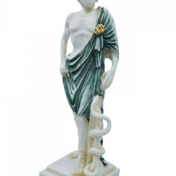 Ascelpius (Asklepios), the greek god of medicine, alabaster statue with green color and patina 2