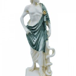 Ascelpius (Asklepios), the greek god of medicine, alabaster statue with green color and patina 1