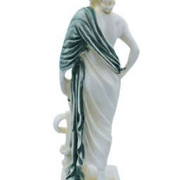 Ascelpius (Asklepios), the greek god of medicine, alabaster statue with green color and patina 3