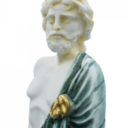 Ascelpius (Asklepios), the greek god of medicine, alabaster statue with green color and patina 4