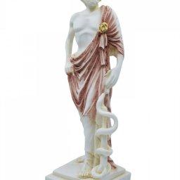 Ascelpius (Asklepios), the greek god of medicine, alabaster statue with color and patina 2
