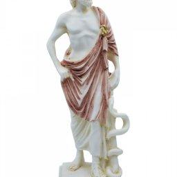 Ascelpius (Asklepios), the greek god of medicine, alabaster statue with color and patina 1