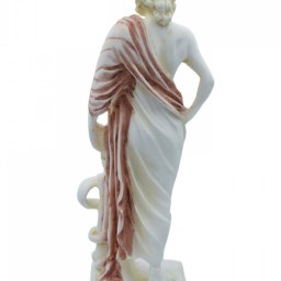 Ascelpius (Asklepios), the greek god of medicine, alabaster statue with color and patina 3