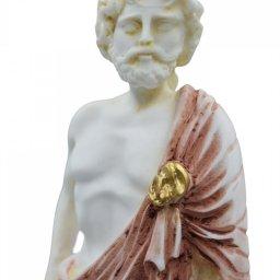 Ascelpius (Asklepios), the greek god of medicine, alabaster statue with color and patina 4