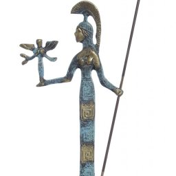 Bronze statue of goddess Athena holding the goddess of victory Nike and a spear 1