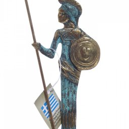 Small bronze statue of Goddess Athena holding her shield and spear 1
