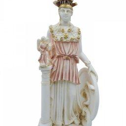 Athena Pallas, Greek goddess of wisdom, alabaster statue with color 1