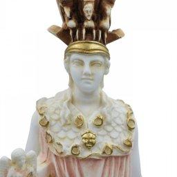 Athena Pallas, Greek goddess of wisdom, alabaster statue with color 3