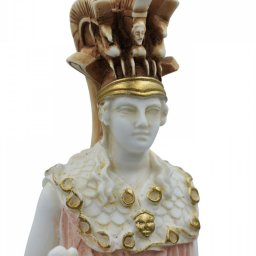 Athena Pallas, Greek goddess of wisdom, alabaster statue with color 4