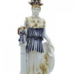 Athena Pallas, Greek goddess of wisdom, alabaster statue with color and patina 1