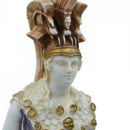 Athena Pallas, Greek goddess of wisdom, alabaster statue with color and patina 3