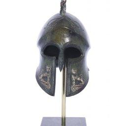 Spartan helmet with engraved golden lions greek bronze statue on marble base 2