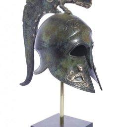 Spartan helmet with engraved golden lions greek bronze statue on marble base 1