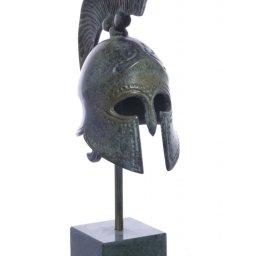Greek bronze statue of a Spartan helmet on marble base 1