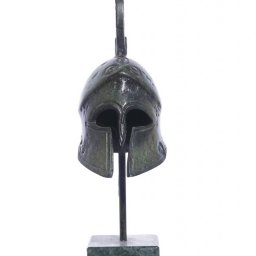 Achilles helmet greek bronze statue on marble base 2