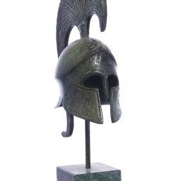 Achilles helmet greek bronze statue on marble base 1