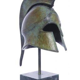 Athenian helmet greek bronze statue on marble base 1