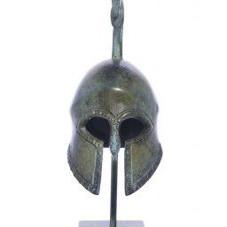 Spartan helmet greek bronze statue on marble base 2