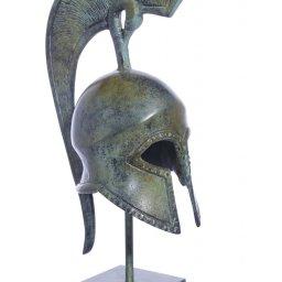 Spartan helmet greek bronze statue on marble base 1