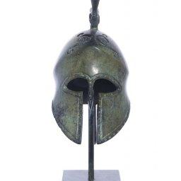 Spartan helmet with engraved snake greek bronze statue on marble base 2