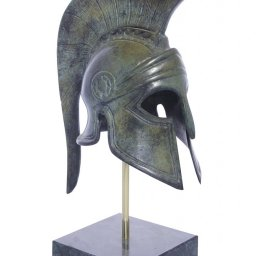 Greek bronze statue of Athenian helmet on marble base 1
