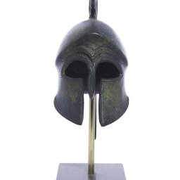 Athenian helmet with engraved owl greek bronze statue on marble base 2
