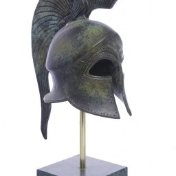 Athenian helmet with engraved owl greek bronze statue on marble base 1