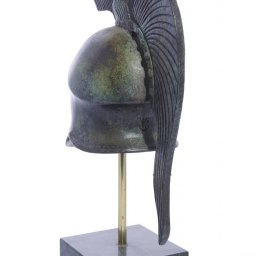 Athenian helmet with engraved owl greek bronze statue on marble base 3