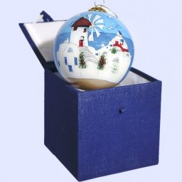 Christmas Ball Mykonos ornament tree in a gift box 1
