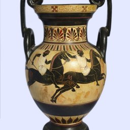 Archaic black-figure amphora with Hermes, Athena, Hector and Andromache 2