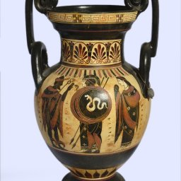 Archaic black-figure amphora with Hermes, Athena, Hector and Andromache 1