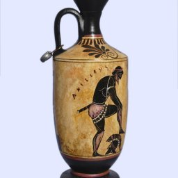 Archaic black-figure lekythos with Achilles and Thetis 1